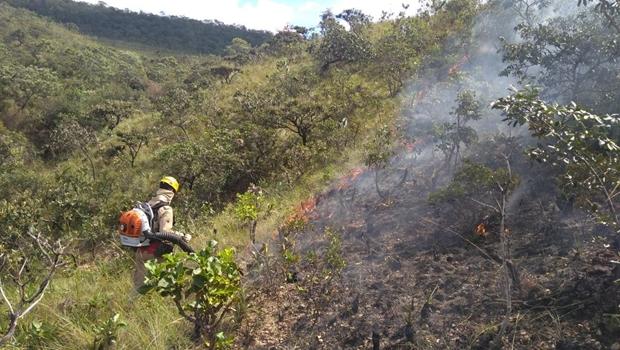 Bombeiros controlam incêndio no Parque Estadual da Serra de Caldas Novas