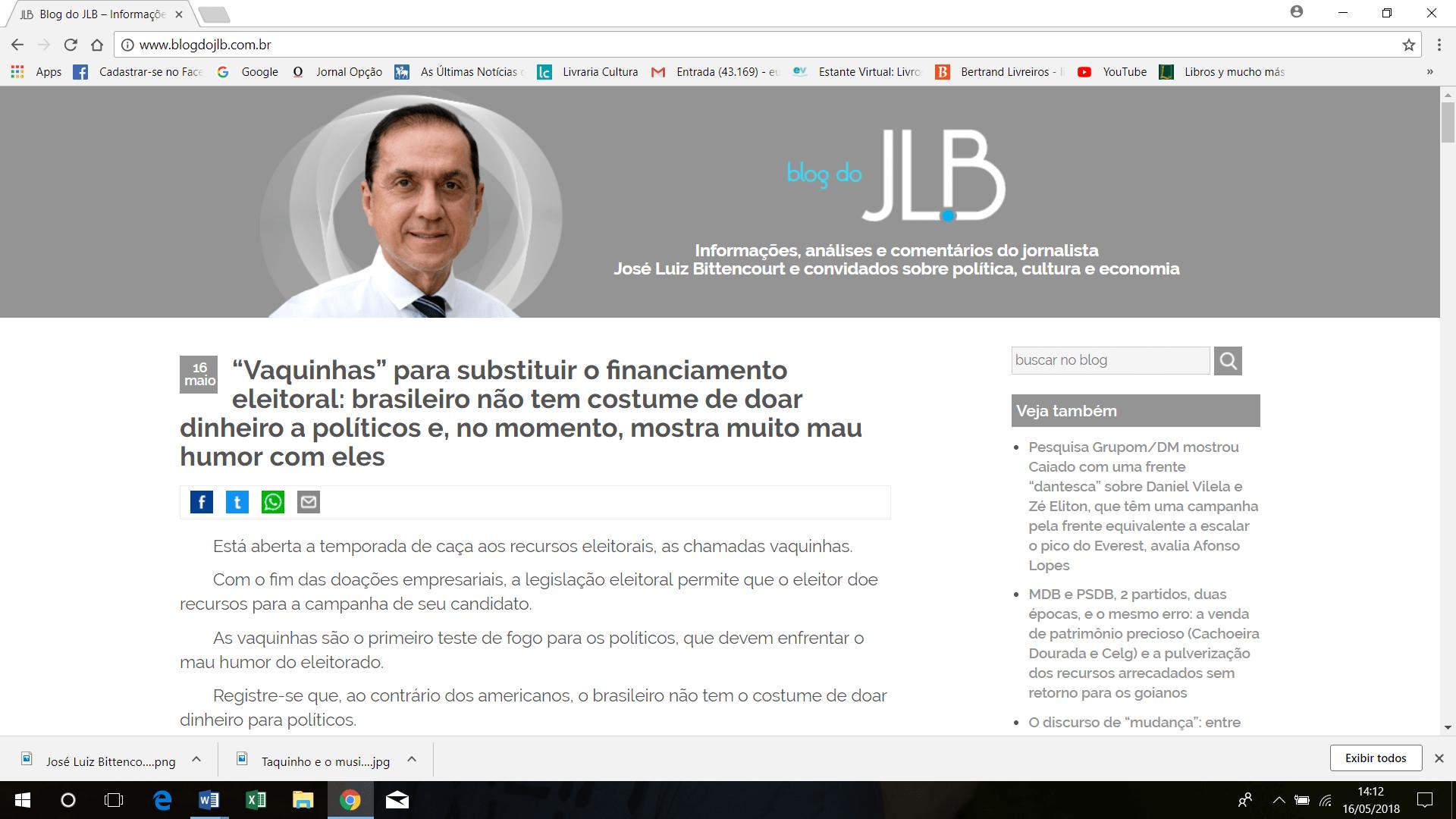 Blog de José Luiz Bittencourt deve fazer sucesso porque faz crítica sem concessão