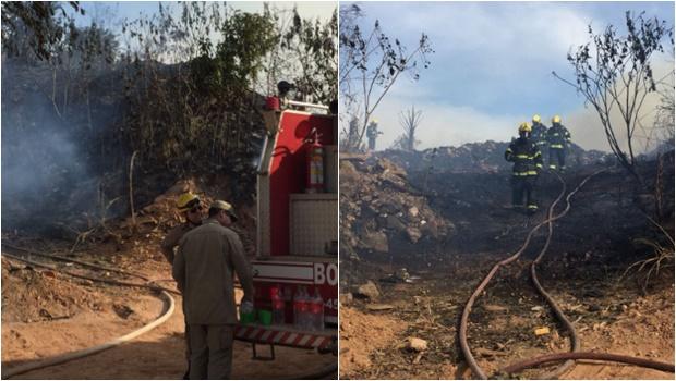 Incêndio atinge depósito de reciclagem em Aparecida de Goiânia