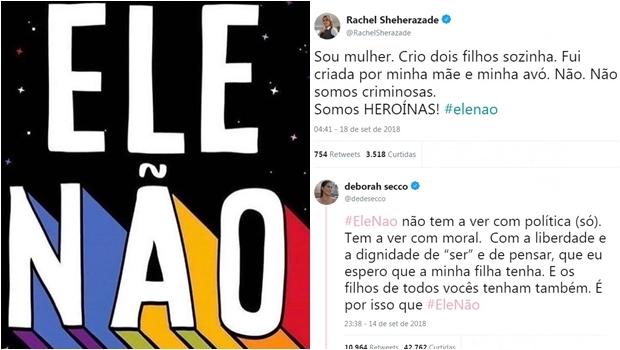 Famosas encampam campanha contra Bolsonaro nas redes #EleNão