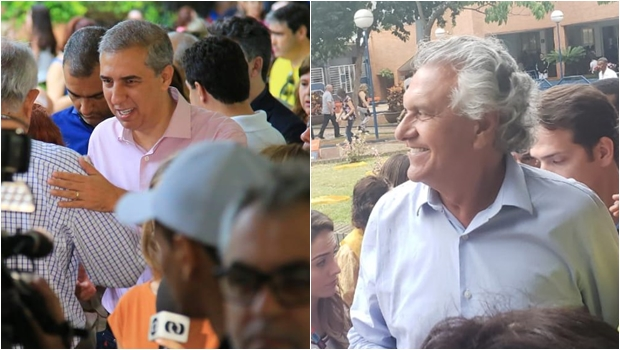 Caiado e José Eliton se encontram em colégio eleitoral de Goiânia