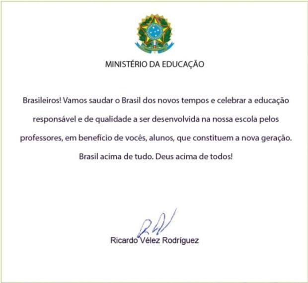 Carta ministro Ricardo Vélez a diretores