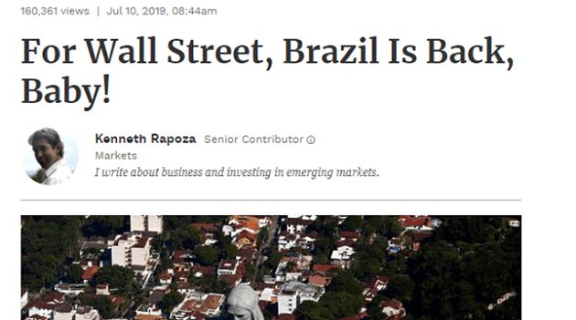 """""""Brasil está de volta aos negócios"""": afirma artigo publicado pela Forbes"""