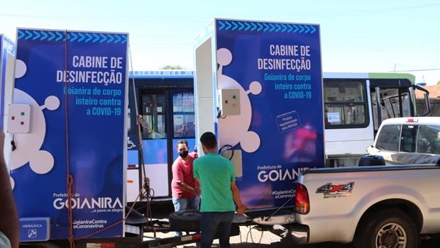 Goianira instala cabines de desinfecção para evitar proliferação do novo coronavírus
