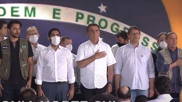 Alta cúpula do governo Bolsonaro participa de evento em Goiás sem máscara de proteção facial