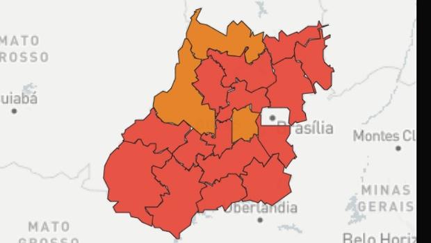 Goiás tem três regiões em zona laranja da pandemia de Covid-19