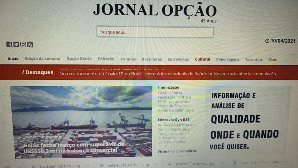 15 sites jornalísticos mais acessados de Goiás em abril. O Popular permanece atrás do Jornal Opção