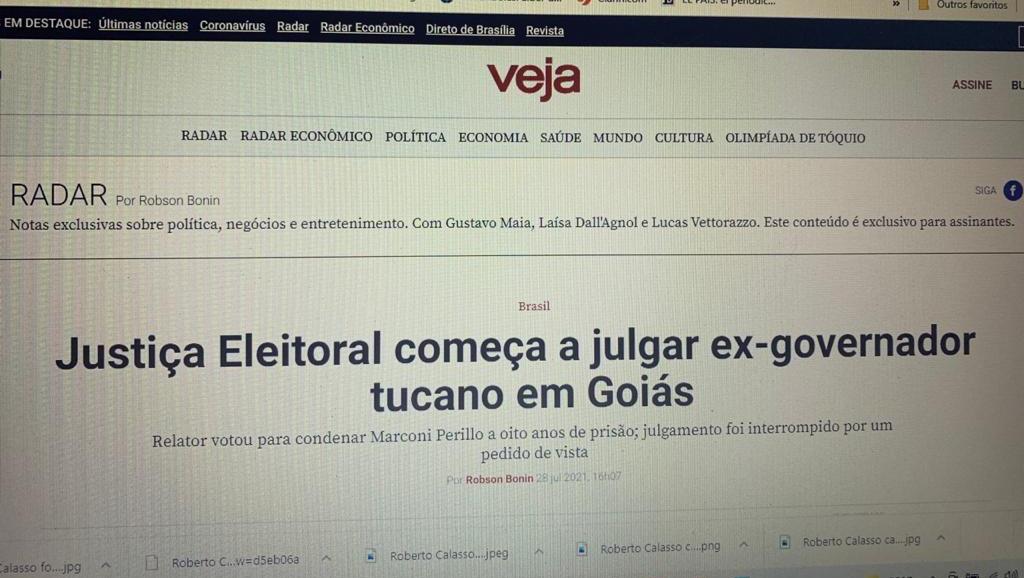 """Revista """"Veja"""" destaca pena de prisão para ex-governador Marconi Perillo"""