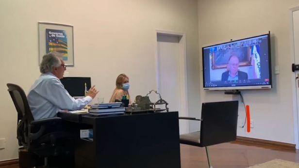 Caiado discursa em reunião com governadores.   Foto: divulgação