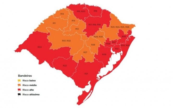 Estado mantém região na bandeira vermelha em mapa preliminar do distanciamento controlado