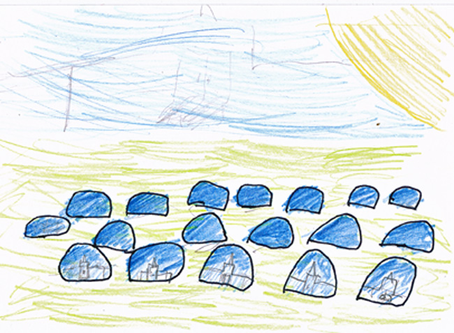 Child's drawing of Ai Wei Wei's blue balls