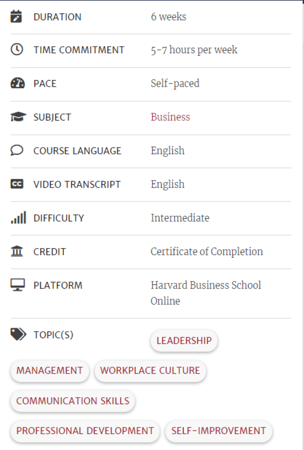 """Leadership Principles""Harvard University - Online Courses"