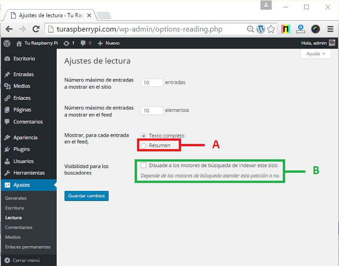 Cómo configurar ajustes de lectura en WordPress