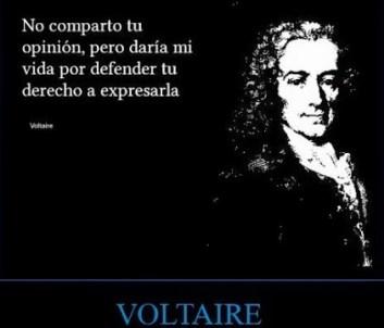 Asertividad en la frase de Voltaire: No estoy de acuerdo con lo que dices, pero estoy dispuesto a batirme con quien sea necesario para que tengas el derecho a decirlo.