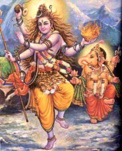 La diosa Kali danzando en un centro alrededor del cual existen numerosos objetos.