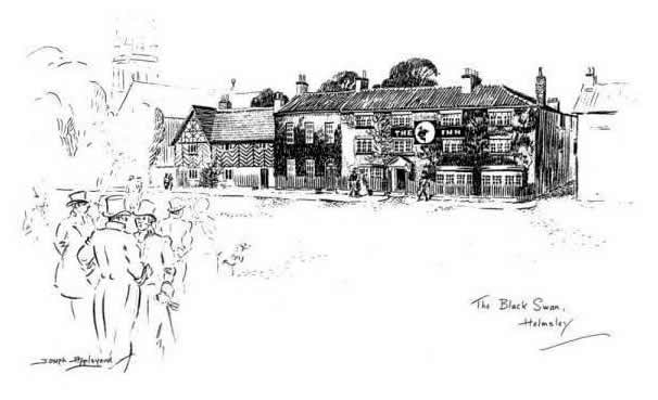 """""""THE 'BLACK SWAN', HELMSLEY"""". The old stables still stand as a reminder of"""