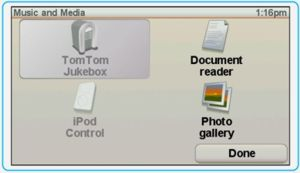 TomTom showing 4 icons in the music and media menu
