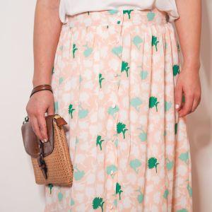 Falda larga rosa y verde Josephine Looks