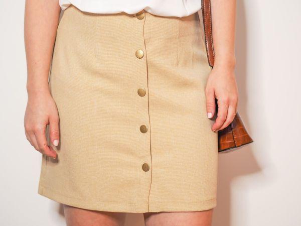 falda beige tiro alto Josephine Looks