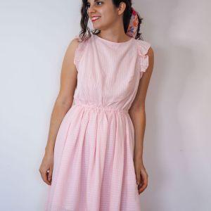 Vestido cuadros vichy rosa 1