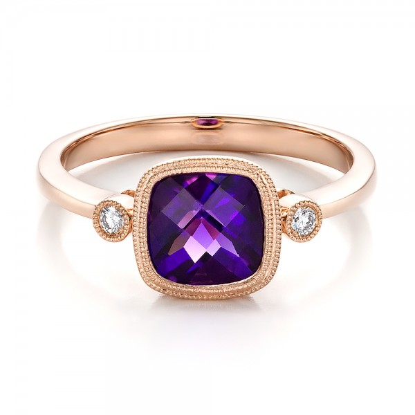 Amethyst and Diamond Rose Gold Ring #100453