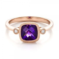 Amethyst and Diamond Rose Gold Ring #100453 - Seattle ...