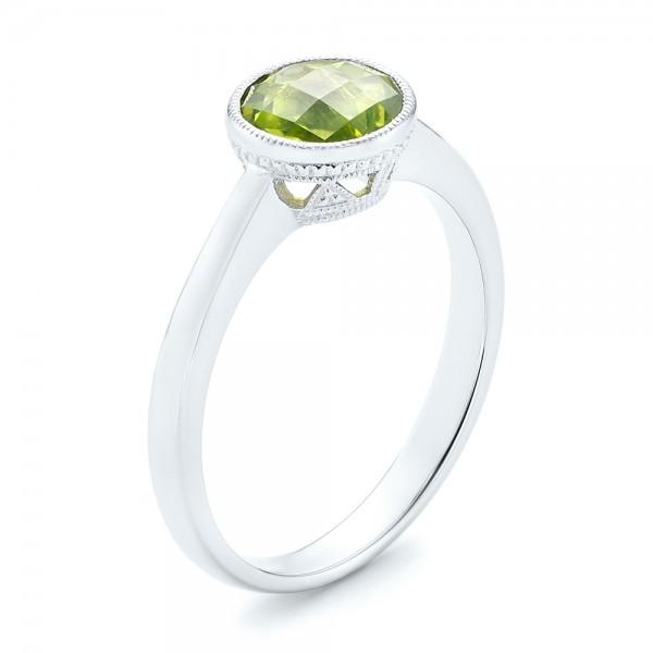 Custom White Pearl, Peridot and Diamond Fashion Ring