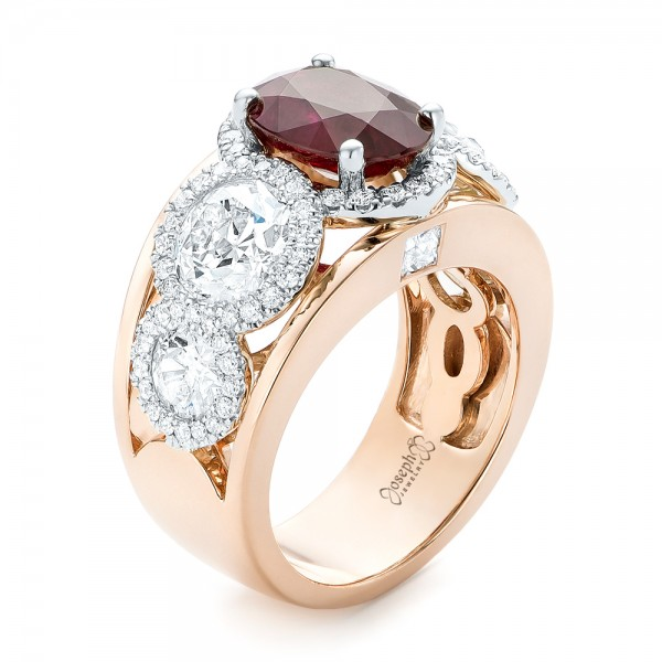 Custom Rose Gold Ruby and Diamond Fashion Ring #102883