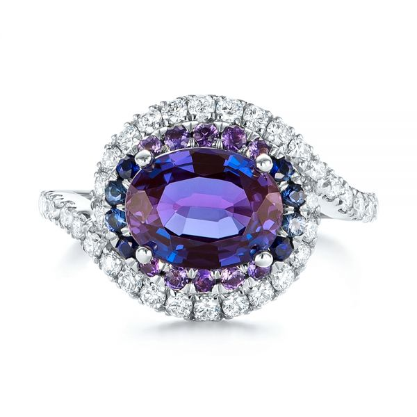 Custom Alexandrite Blue And Purple Sapphire And Diamond