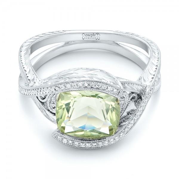 Custom Beryl and Diamond Engagement Ring 103400
