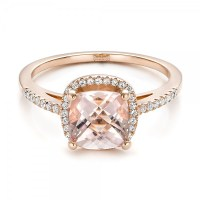 Custom Morganite and Diamond Halo Rose Gold Engagement