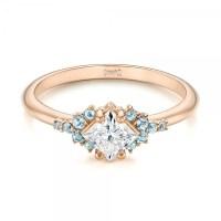 Custom Rose Gold Aquamarine and Diamond Engagement Ring ...