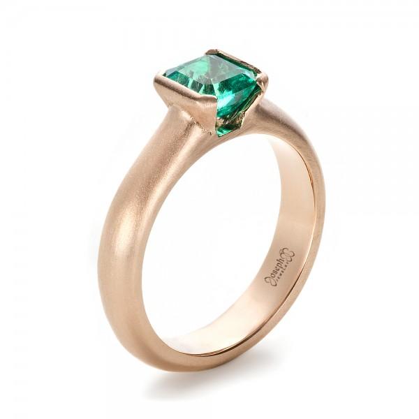 Custom Rose Gold Emerald Ring 1427 Seattle Bellevue