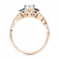 Custom Rose Gold Three Stone Blue Sapphire and Diamond ...