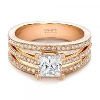Custom Rose Gold and Princess Cut Diamond Engagement Ring ...