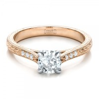 Custom Rose Gold and White Gold Diamond Engagement Ring ...