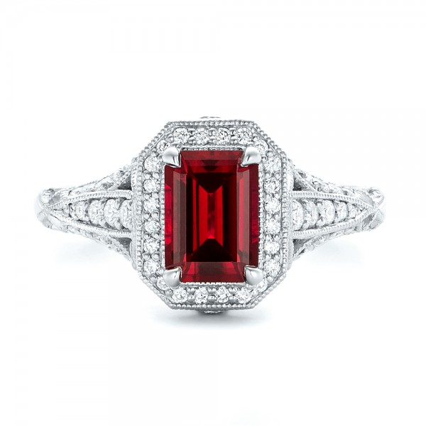 Custom Ruby and Diamond Halo Vintage Engagement Ring 102729