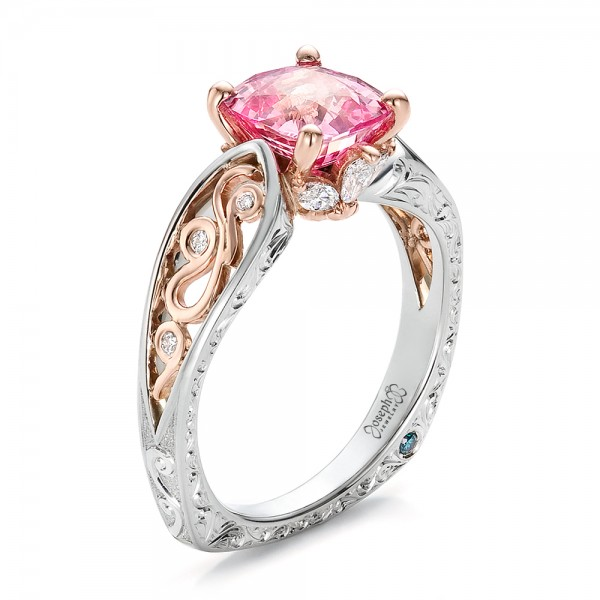 Custom TwoTone Pink Sapphire and Diamond Engagement Ring