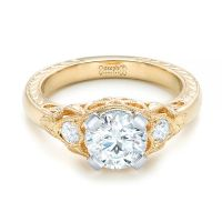 Custom Vintage Diamond Yellow Gold Engagement Ring #102797 ...