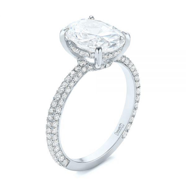 14k White Gold Oval Diamond Engagement Ring #104080
