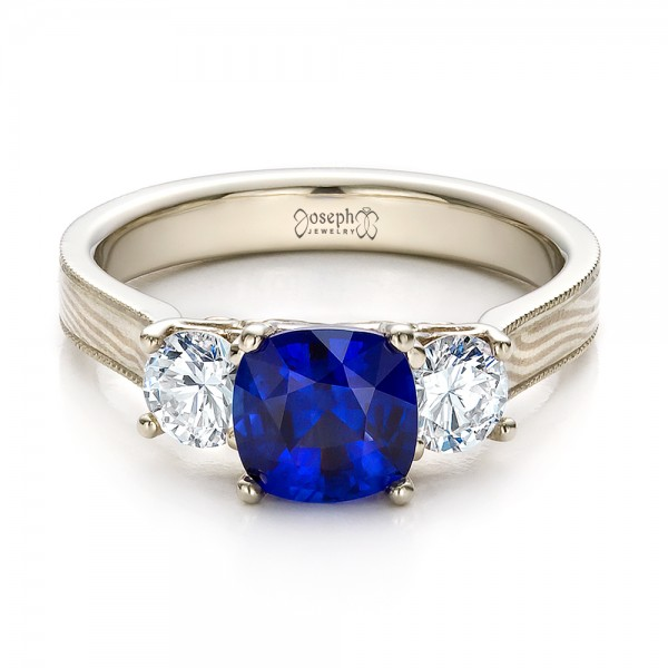 Women39s Blue Sapphire Diamond and Mokume Engagement Ring