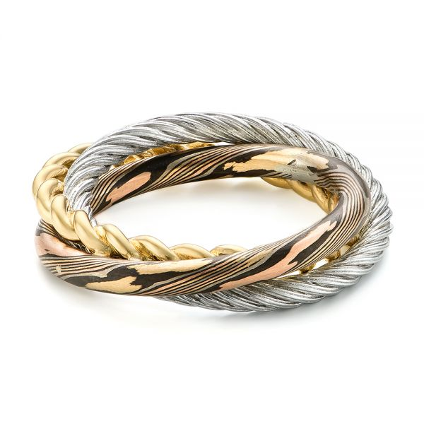 Custom Braided Mokume White And Yellow Gold Wedding Band