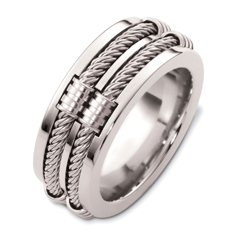Mens Cable 18k White Gold Band 308 Seattle Bellevue