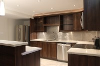 Modern Dark Brown Thermofoil Kitchen - Joseph Kitchen & Bath