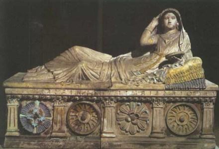 "Etruscan sarcophagus, ""Lartie Scianti."""