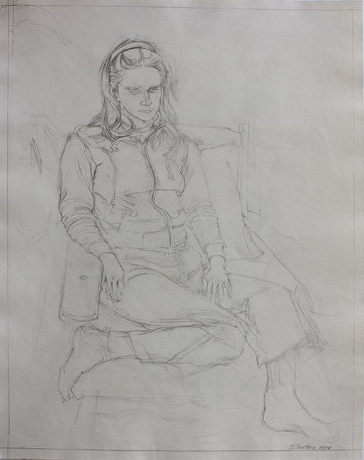 Annie in Chair, pencil on paper, 18 x 14.125 inches, 1974. Collection of the artist.