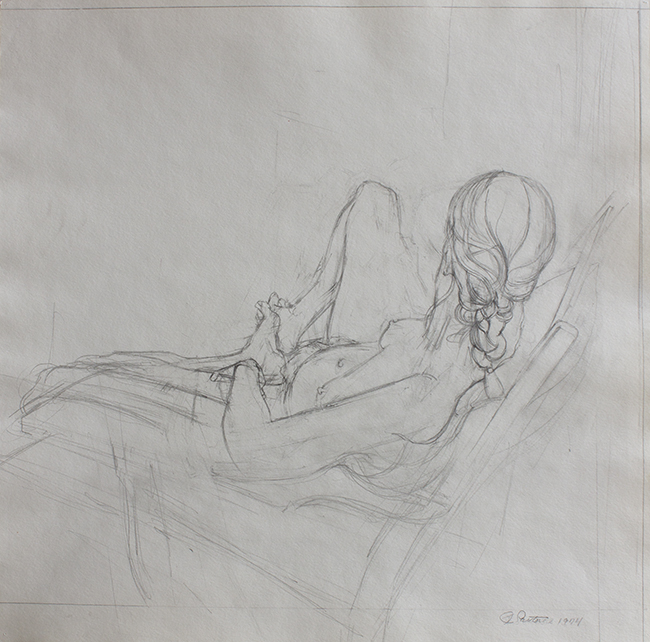 Annie with Braid, pencil on paper, 15.25 x 15.625 inches, 1974.