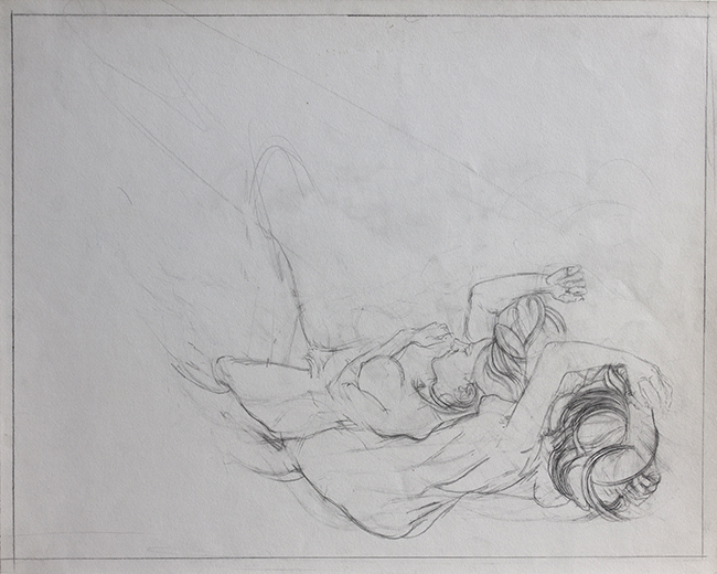 Annie and Vickie, pencil on paper, 15 x 18.75 inches, 1975.