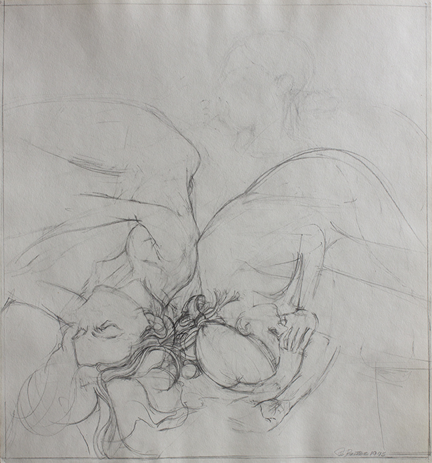 Marci and Annie, pencil on paper, 16 x 14.75 inches, 1975.