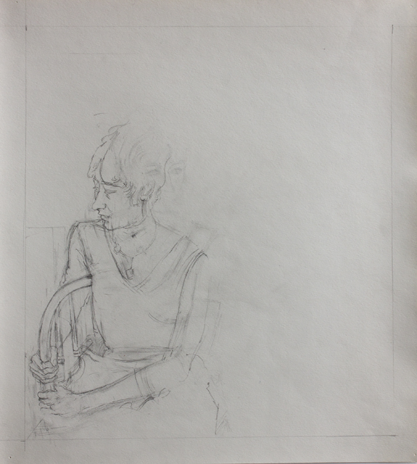 Susan Holding Chair, pencil on backdrop paper, 13.5 x 12 inches, 1975.